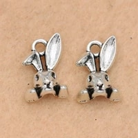 10pcs antique silver plated rabbit head charms pendant jewelry making bracelet necklace findings handmade 14x10mm
