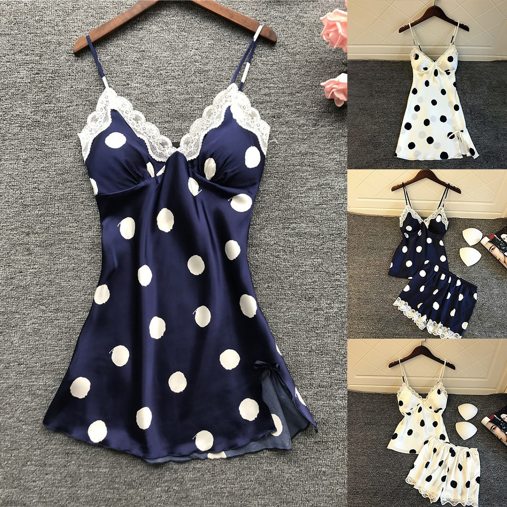 New Fashion Soft  Sexy Women's Satin Silk Sleepwear Pajamas Nightdress Lingerie Polka Dot Summer Sleepwear