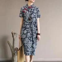 cotton linen womens stand collar buttons cheongsam summer traditional chinese dress vintage floral printed sundress vestido