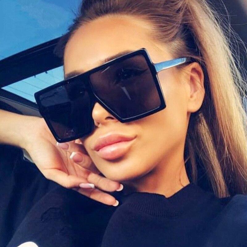 Black Square Oversized Sunglasses Women Big Frame Colorful Sun Glasses Men Mirror Oculos Unisex Grad
