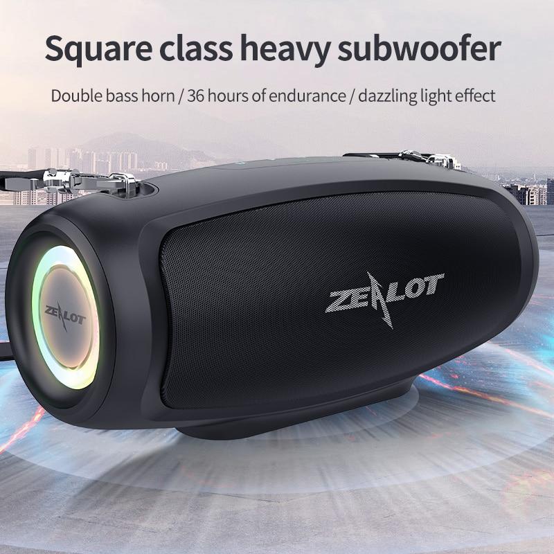 Zealot S37S سمّاعات بلوتوث 60 واط مخرج قوة سمّاعات بلوتوث مع فئة D مضخم صوت ممتاز باس أداء مكبر هاي فاي