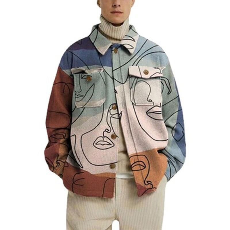 Новинка Осень-зима модные повседневные свободные мужские куртки с принтом в стиле High Street красивые и универсальные разнообразные куртки на ...
