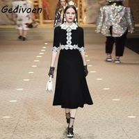 gedivoen fashion designer summer black midi dresses womens lace peter pan collar splicing high waist slim elegant party dress