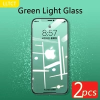 lltct 2pcs 9h green light glass for iphone 12 pro max 11 pro mx x xs xr 7plus 8plus full ccreen coverage front film protect eye