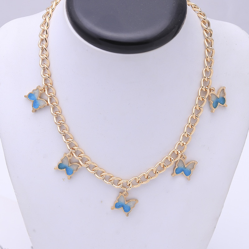 Collar Harajuku bonito de resina con mariposa para mujer, collar grueso con cadena de Color dorado para fiesta, joyería para mujer Punk, Collares 2020