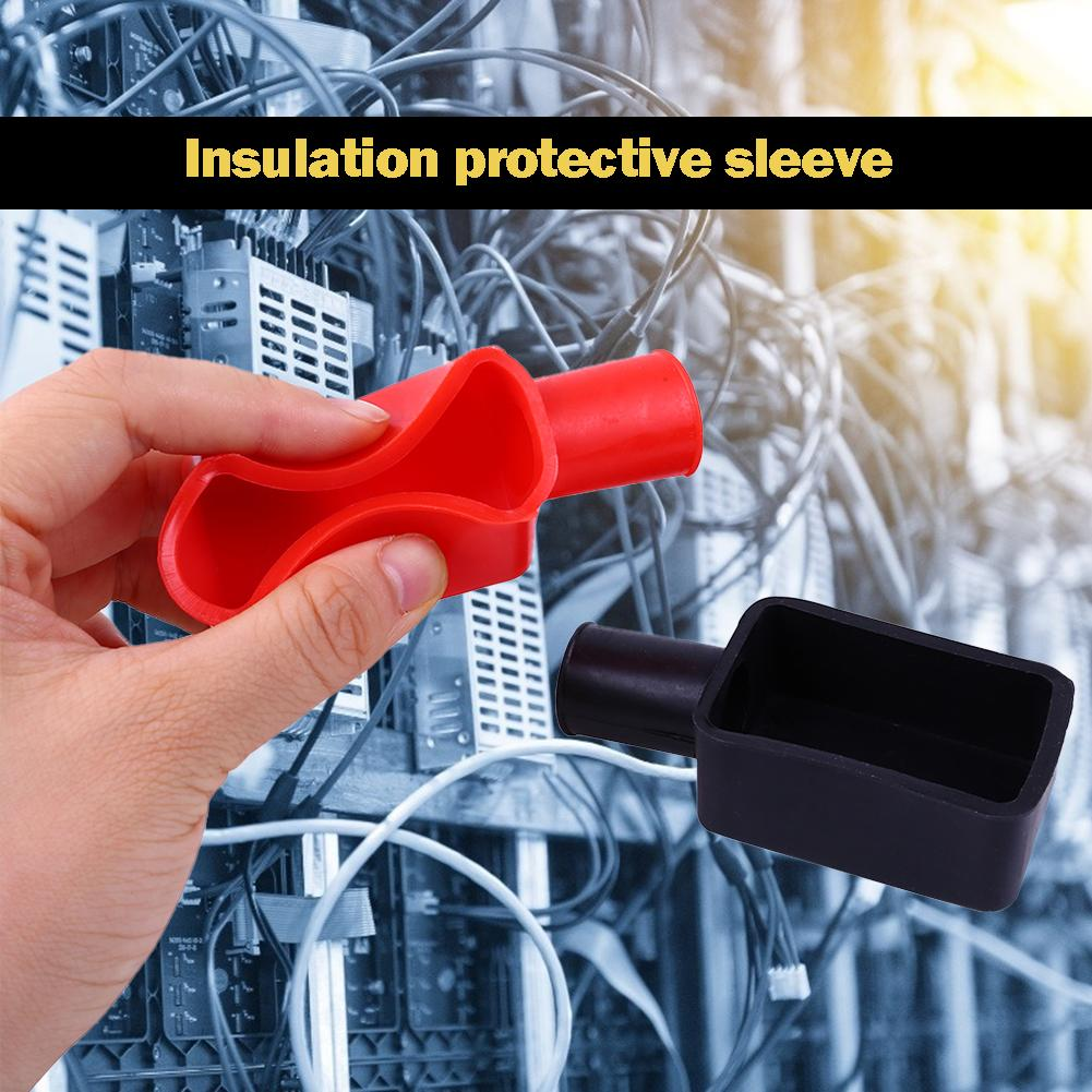 2pcs/set PVC Battery Negative Positive Terminal Cap Insulation Protective Cover for Electronics Communication Equipment
