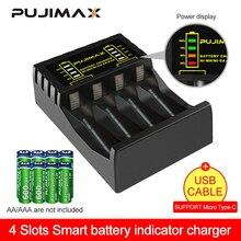 PUJIMAX 4 فتحات شاحن بطارية كهربية ذكي سريع مؤشر LED شاحن يو اس بي ل AA/AAA Ni-mh/Ni-Cd بطارية قابلة للشحن