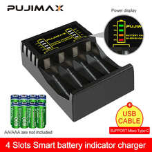 PUJIMAX 4 Slots Electric Battery Charger Intelligent Fast LED Indicator USB Charger For AA/AAA Ni-MH/Ni-Cd Rechargeable Battery