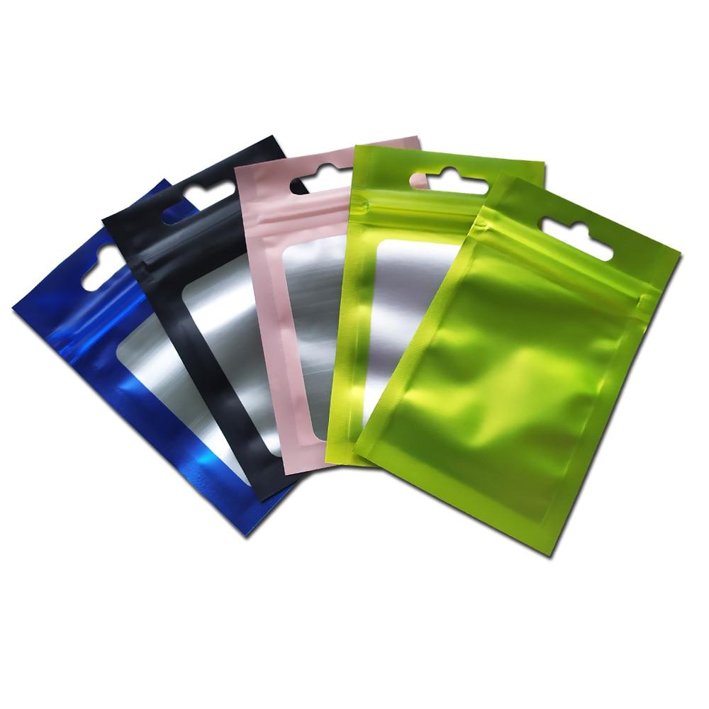 100 Uds al por menor color mate Mylar Foil paquete con cierre Zip Bag resellable Matte Clear Window bolsas de plástico para comestibles electrónicos