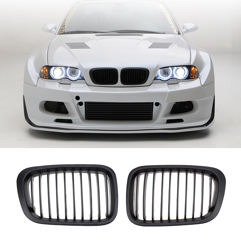 2Pcs Car Style Gloss Matte Black Kidney Front Grille For BMW E46 3 Series 4DR 4D 1998 - 2001 Exterior Parts Racing Grills