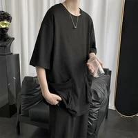 summer short sleeve men tshirts large pocket fashion japanese streetwear punk hip hop harajuku white black blue plus size tops