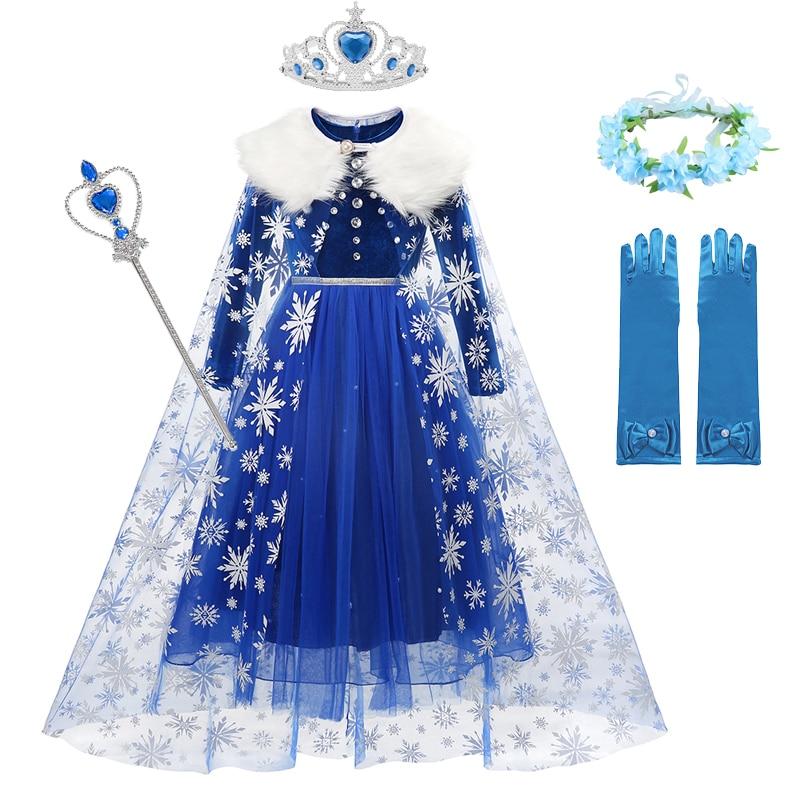 Fantezi Cosplay kızlar Elsa prenses elbise kar tanesi Anna kostüm cadılar bayramı noel için çocuklar parti elbiseler kız giyim Ca      -