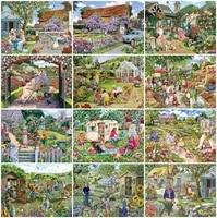 AZQSD     peinture de diamant de jardin avec perceuse complete  mosaique  image de strass  broderie artisanale  paysage  decoration de maison  cadeau