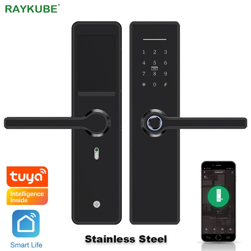 Get RAYKUBE Wifi Fingerprint Door Lock Stainless Steel Support Tuya/Smartlife APP Code / Smart Card High-Quality Black X6