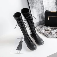 black sexy knee length long tube martin boots womens microfiber warm winter boots womens fashion party boots large size 33 43