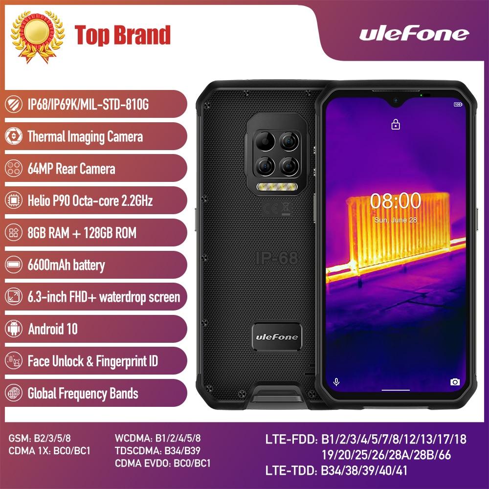 Перейти на Алиэкспресс и купить Ulefone Armor 9 термокамера прочный телефон Android 10 Helio P90 Восьмиядерный 8 ГБ + 128 Гб мобильный телефон 6600 мАч 64 мп NFC 4G смартфон
