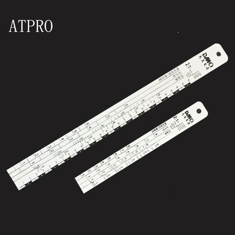 Растворитель ATPRO, никогда не ржавеет, Алюминиевая линейка для Смешивания Краски со шкалой, автомобильная краска, инструменты для распыления...