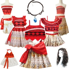 Kids Moana Christmas Costume for Girls Straps Backless Vaiana Summer Dress Wig Children Baby Clothes
