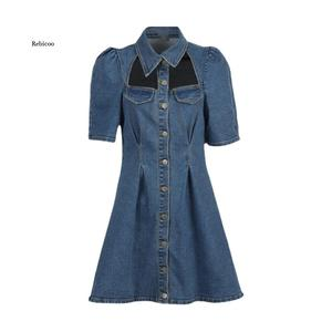 Spring and summer new women's lapel short-sleeved single-breasted hollow French waist slim denim mini dress