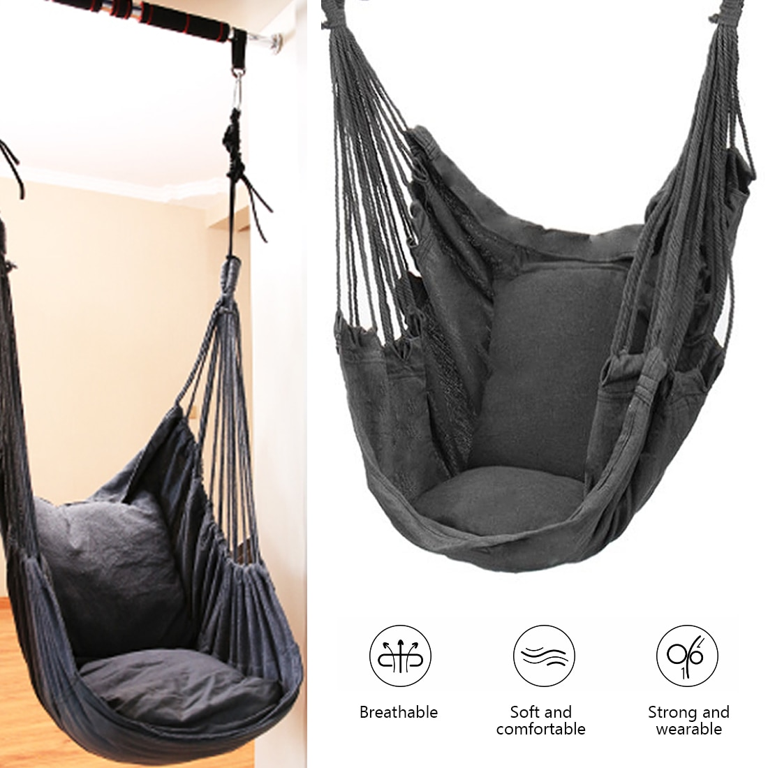 Hammock Portable Beach Chair Hanging Rope Chair Swing Chair Seat for s Kids Garden Hammock with Support Indoor Outdoor