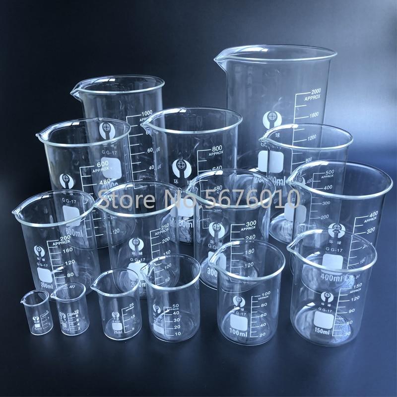 Лабораторный стеклянный стакан 5-3000 мл, боросиликатный 3.3, термостойкий стакан, измерительный стеклянный стакан, лабораторное оборудование
