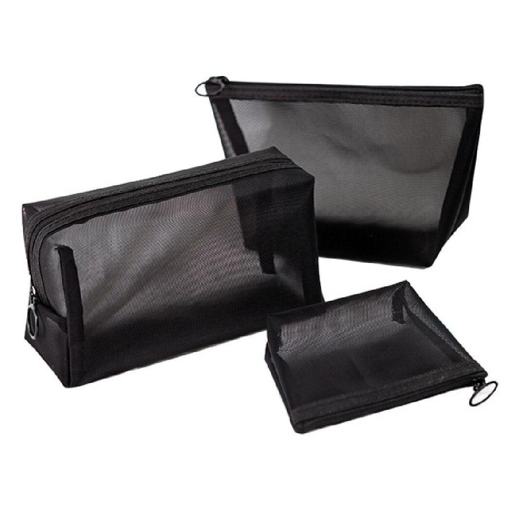 Men Cosmetic Bag Black Female Makeup bag transparent toiletry bag Travel Organizer Bag Case Pouch Po