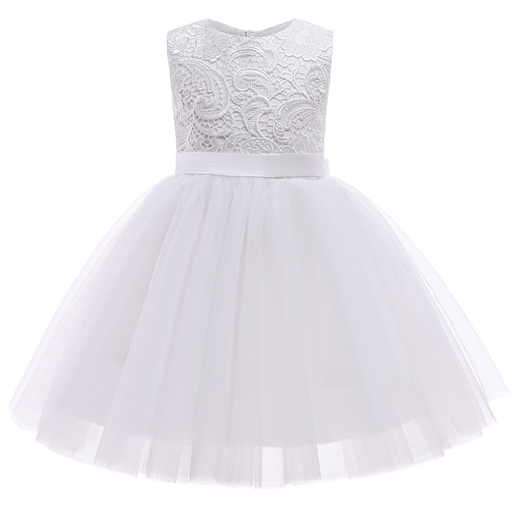 Lace Flower Girls Dresses With Belt Bow For Wedding Party Princess Dress Sleeveless Children Clothing Kids Birthday Party Dress children flower girls dress princess kids dress with bow summer flower girls wedding party clothes kids prom gowns with necklace