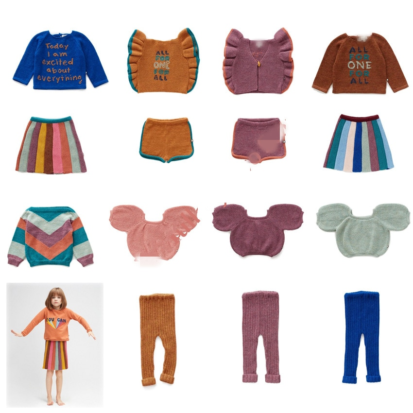 2020 primavera niños conjuntos de ropa niño niña suéter chaleco pantalones tejidos bebé niños ropa de manga larga trajes Leggings