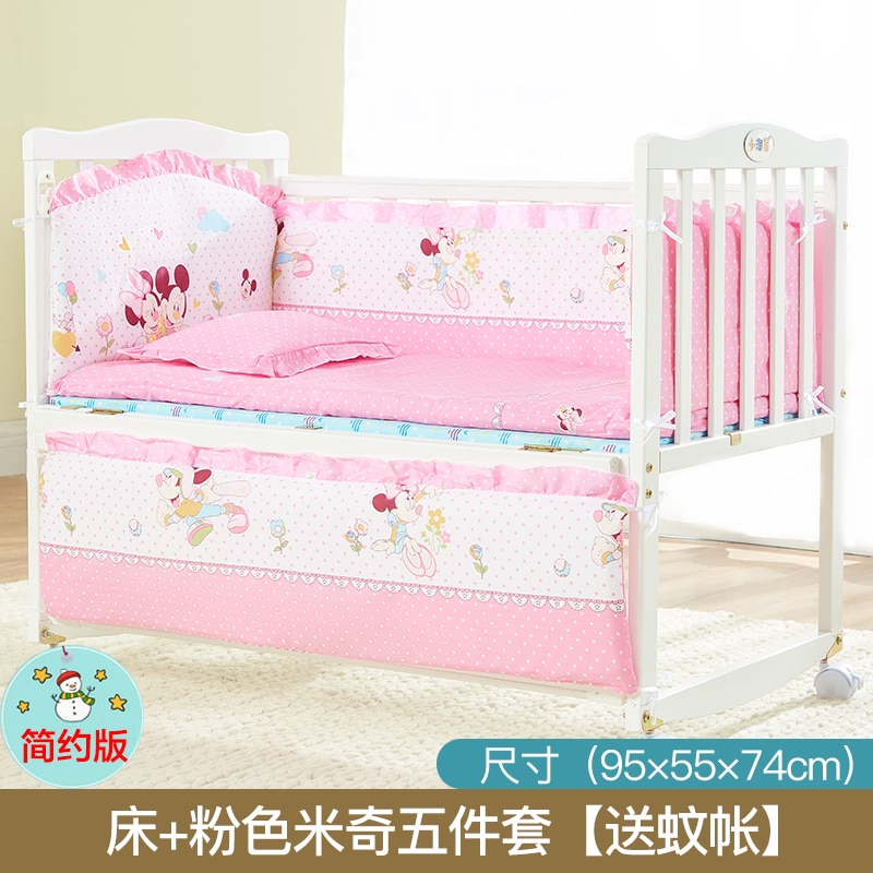 6135 Newborns Baby Crib European Style Solid Wood Multi-functional BB Bed Removable Crib White Bed Joint Bed