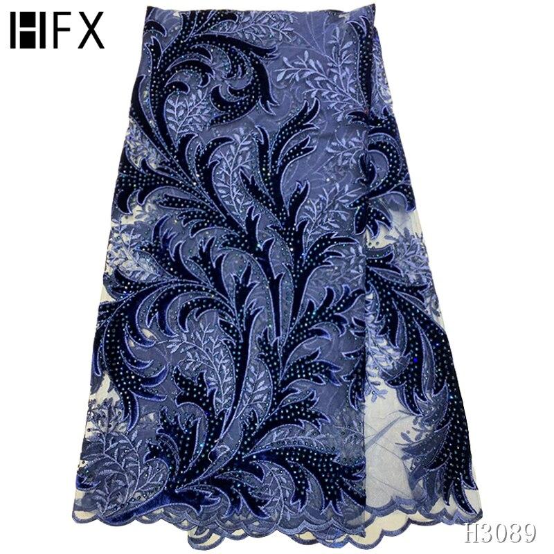 Hfx mais recente tecido de renda africano 2020 alta qualidade rendas veludo azul marinho rendas nigeriano tecidos para o vestido casamento 5 jardas h3089