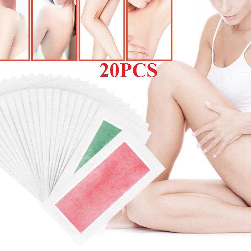20 teile/los Vlies Haar Entfernung Wachs Streifen Unisex Für enthaarung Doppelseitige Kalt Wachs Papier Für Bikini Bein Körper Gesicht depiladora