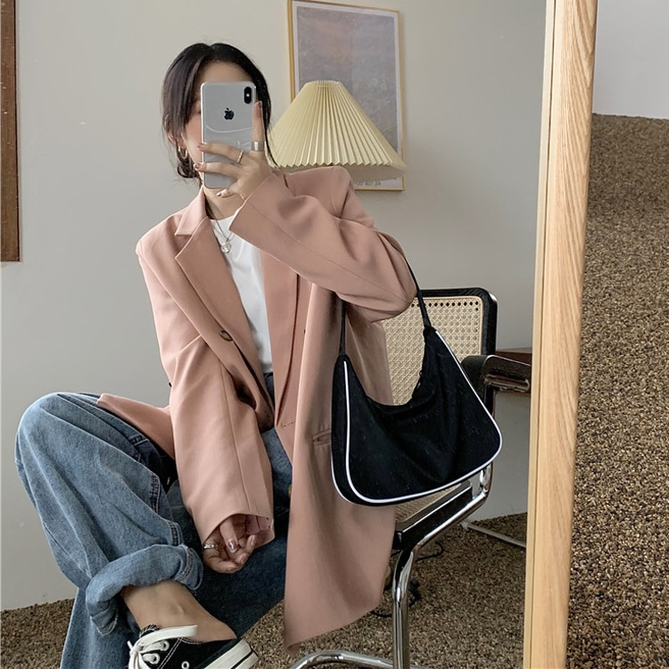 Women's plus Size Suit Jacket for Plump Girls Spring and Autumn 2021 New Korean Super Hot Loose Suit