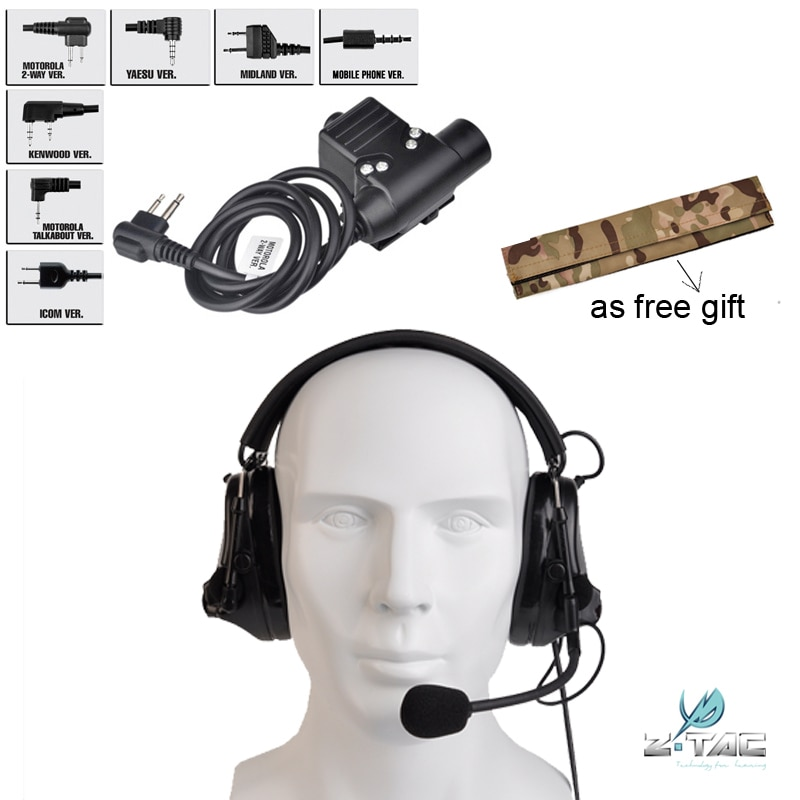 Z-TAC Genuine Upgrade Tactical Headset Noise Reduction Headset Z051 BK And PTT U94 Airsoft Z113 Free Camo Headband