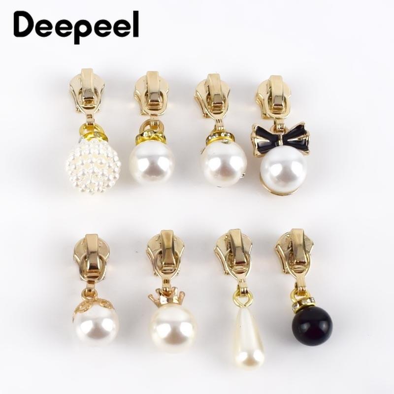 5/10pcs 3# Pearl Puller Metal Zipper Sliders for Metal Zippers DIY Bag Costume Decoration Zip Slider Head Sewing Accessories faux pearl espadrille flatform sliders