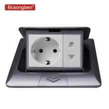 Bcsongben All Aluminum Silver Panel 16A EU Standard Socket + Universal 2 Hole Pop Up Floor Socket Power Outlet