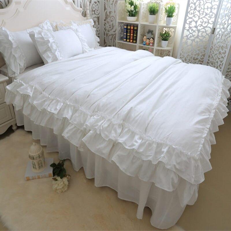 Juego de cama blanco completo de doble capa, funda de edredón con volantes, Sábana de cama, falda de cama Princesa, ropa de cama cálida, HM-15W textil para el hogar