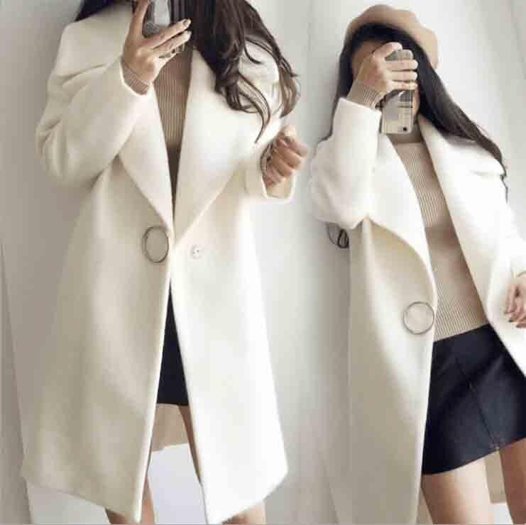 Abrigo de algodón para mujer chaqueta de Otoño de punto de lana mezcla de manga larga con botones blancos abrigos causales
