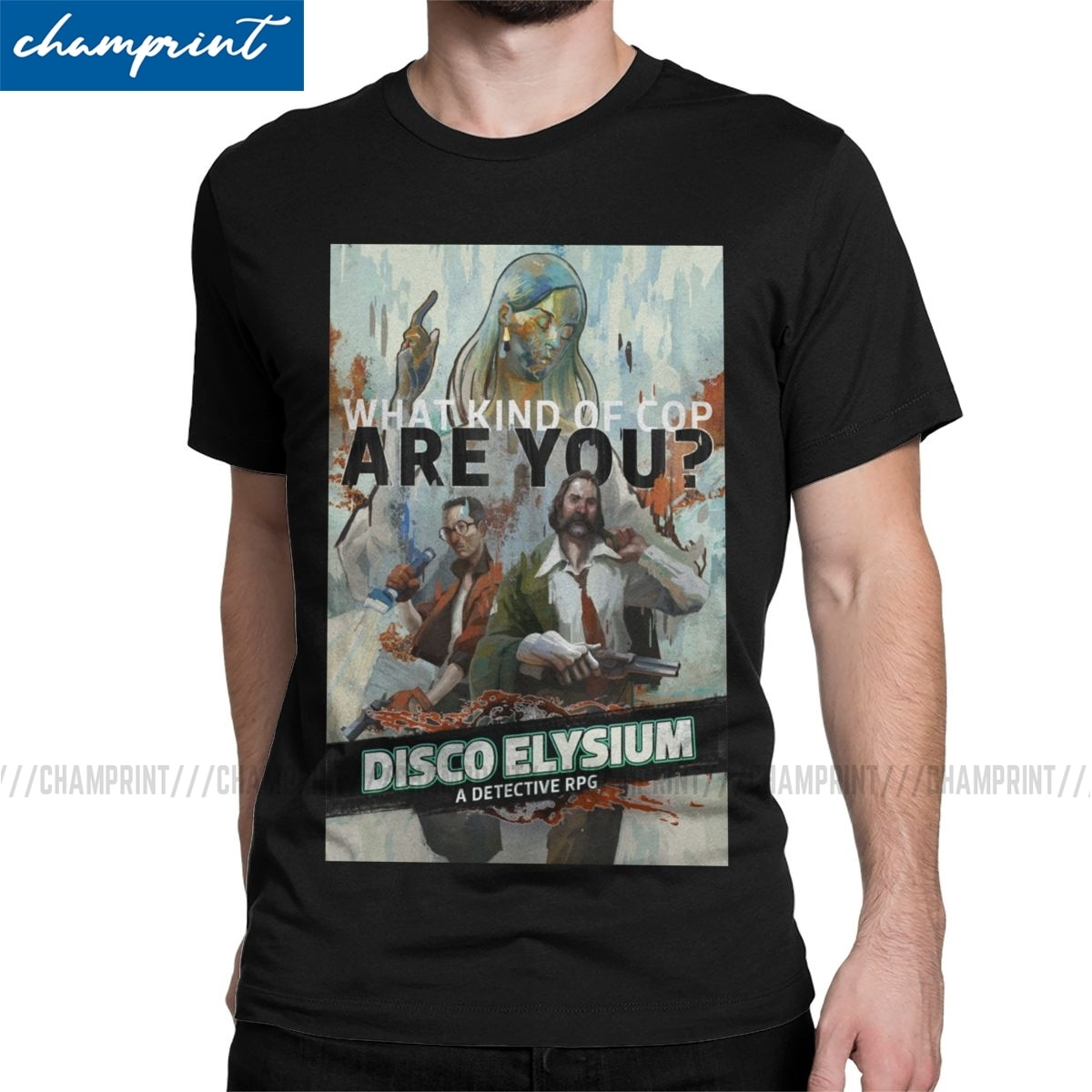 Novelty Disco Elysium Poster T-Shirts for Men Crew Neck Pure Cotton T Shirts Short Sleeve Tees Gift Idea Tops
