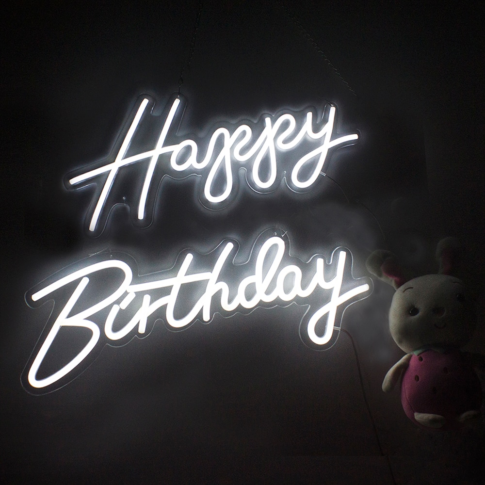 Happy Birthday Led Neon Signs Light for Restaurant  Bar Pub Club Home Wall Hanging Neon Lights Transparent Acrylic enlarge