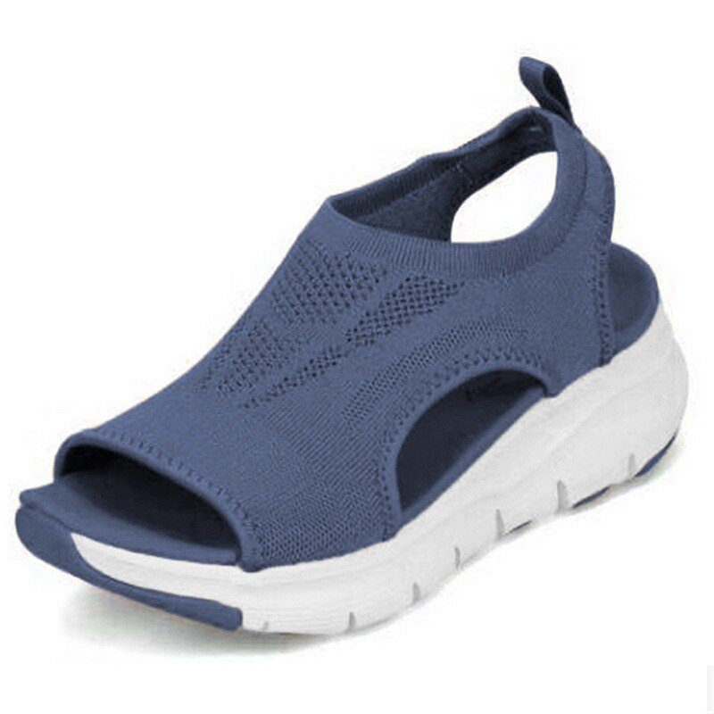Women Summer Sandals Mesh Breathable Ladies Wedge Platform Shoes Slip-On Female Soft Thick Bottom Fa