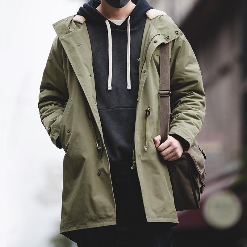 Maden Men's Thick Hooded M-51 Fishtail Cotton Coat Plus Velvet Parka Jacket Army Green Windbreaker W