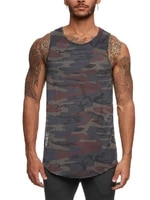 mens sports vest camouflage loose o neck printing sleeveless t shirt bottoming shirt ropa para ejercicio workout vest tank top