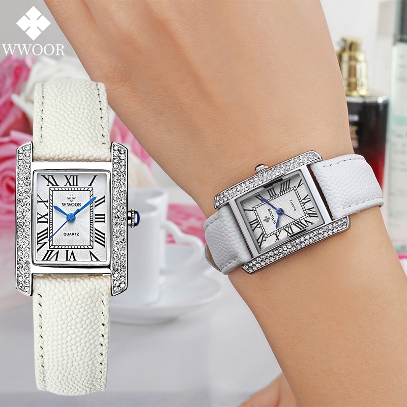 WWOOR 2021 Ladies Watch Luxury Brand Ladies White Square Wristwatch Minimalist Analog Quartz Movement Unique Female Casual Watch enlarge