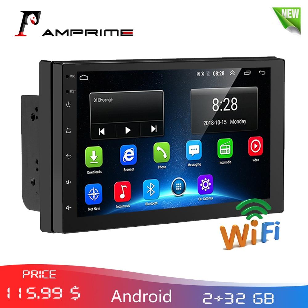 """Amprime 2 din carro multimídia 7 """"android 2g + 32g rádio do carro navegação gps wifi bluetooth fm mp5 player suporte 4g lte sim rede"""