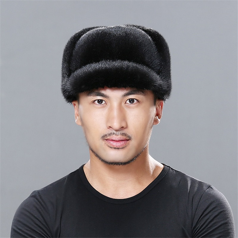 Winter Fur Warm Windproof Hat Men's Lei Feng Cap Bomber Jacket Mink Fur Earmuffs Hat Black Ski Cavalry Catcher Cold And Snow Cap