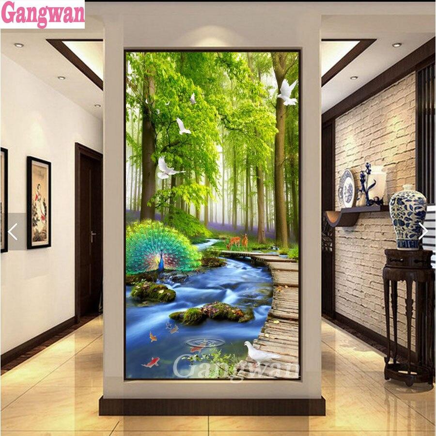 Bordado de diamantes con paisaje natural pintura de diamantes verde bosque árbol Arroyo animales imagen 3d rhinestones decoración grande
