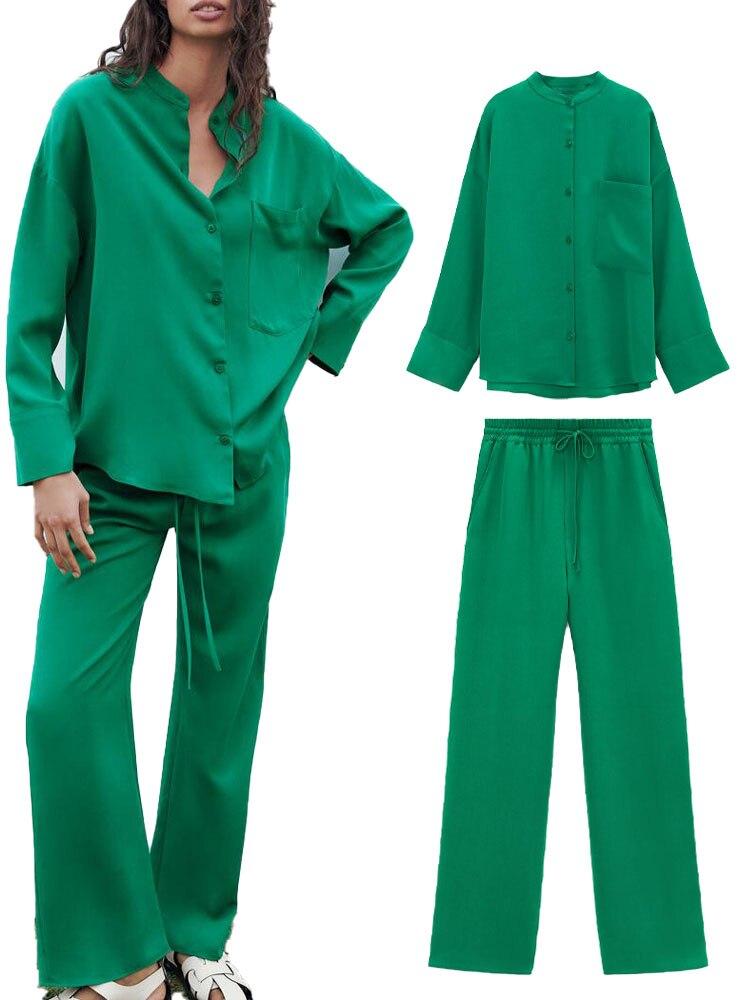 ZA صيف جديد السيدات الأفوكادو اللون بسيطة و تنوعا جيب قميص عالية الخصر مستقيم الساق السراويل. رايات السراويل لباس غير رسمي
