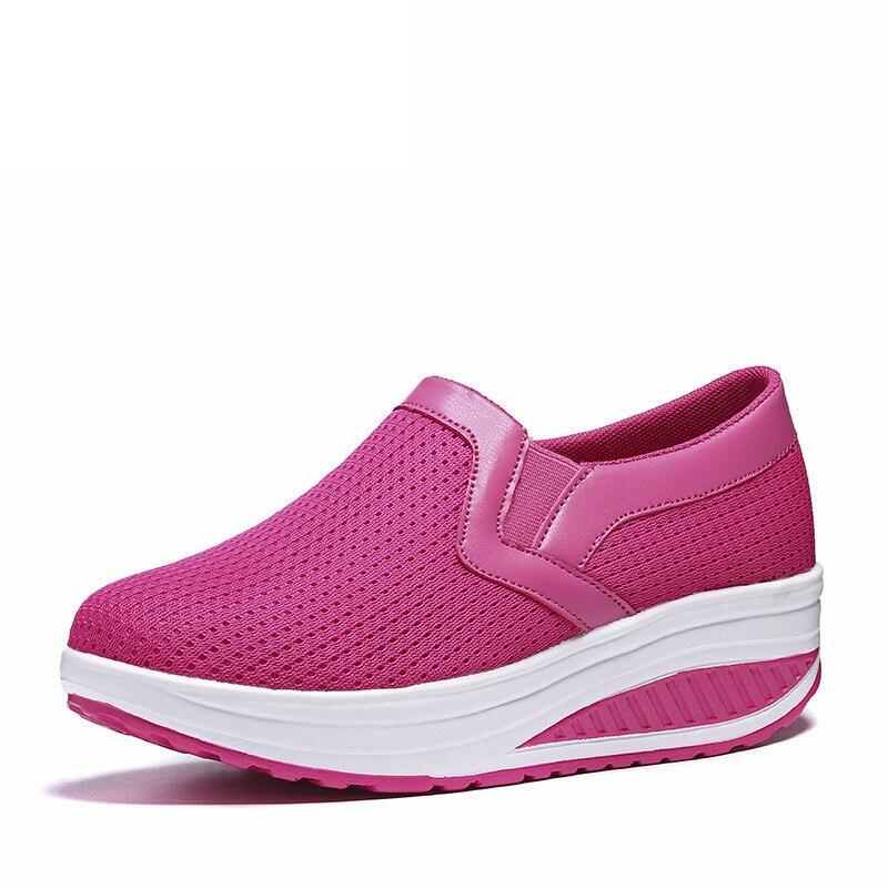 Sapatos de balanço feminino sapatos de malha de ar mulher mocassins plataformas planas sapato feminino cunhas casuais senhoras sapatos de altura crescente calçado unif
