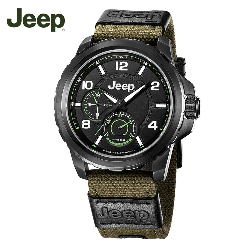 Jeep-ساعة رياضية للرجال ، سوار عسكري ، قرص كبير ، كوارتز ، مقاومة للماء ، موديل JPW646