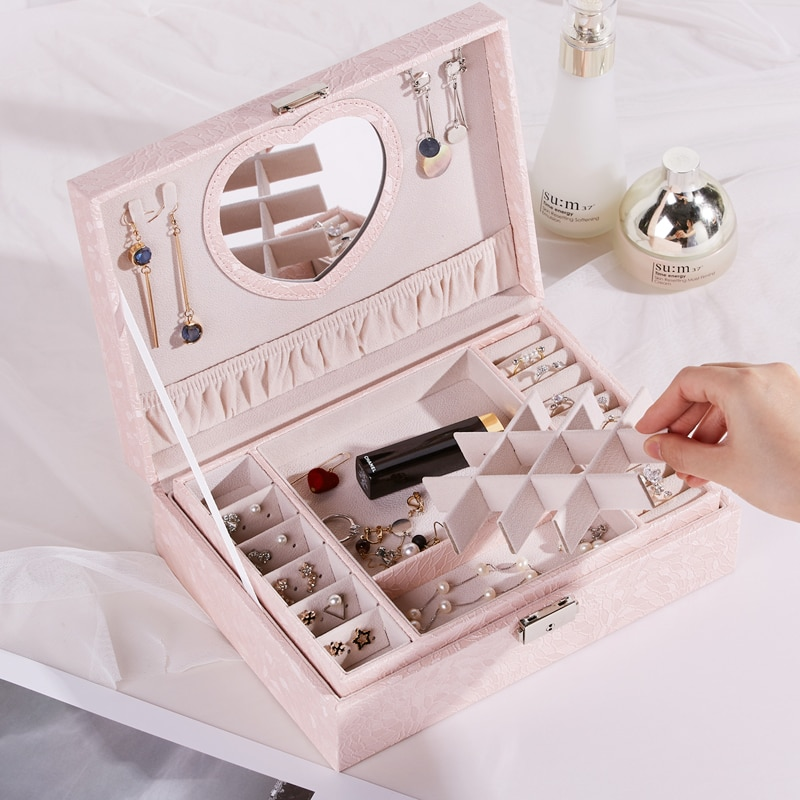 Double Decker Fashion Jewelry Box Large Roomy Jewellery Box PU Leather Bracelet Storage Stud Earring Display Necklace Ring Case
